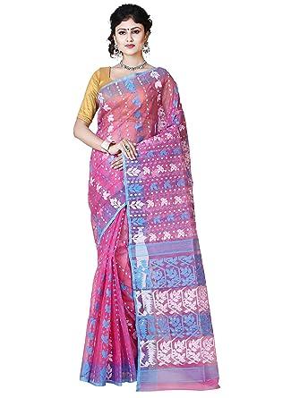 88d39ad08841d2 RLB Fashion Women s Cotton Silk Handloom Dhakai Jamdani Saree (Pink ...
