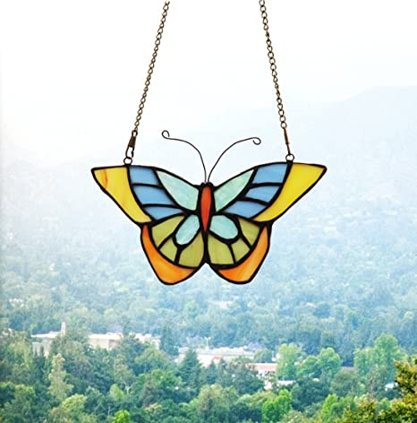 03aec92c7b3 Amazon.com   Makenier Tiffany Style Stained Glass Butterfly Window Hanging Sun  Catcher   Garden   Outdoor