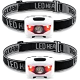 Night Eyes-2PACK Best & Brightest Headlamp Flashlight with 2 RED LED LIGHT - Perfect & Lightweight headlight for Hiking,Running,Walking, Camping, Reading,Fishing,Hunting,DIY -2PACK