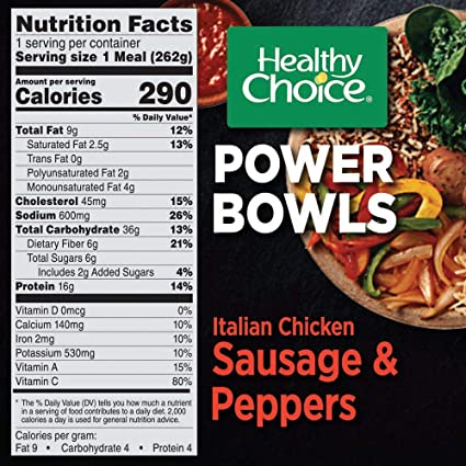Healthy Choice Power Bowls Italian Style Chicken Sausage Peppers