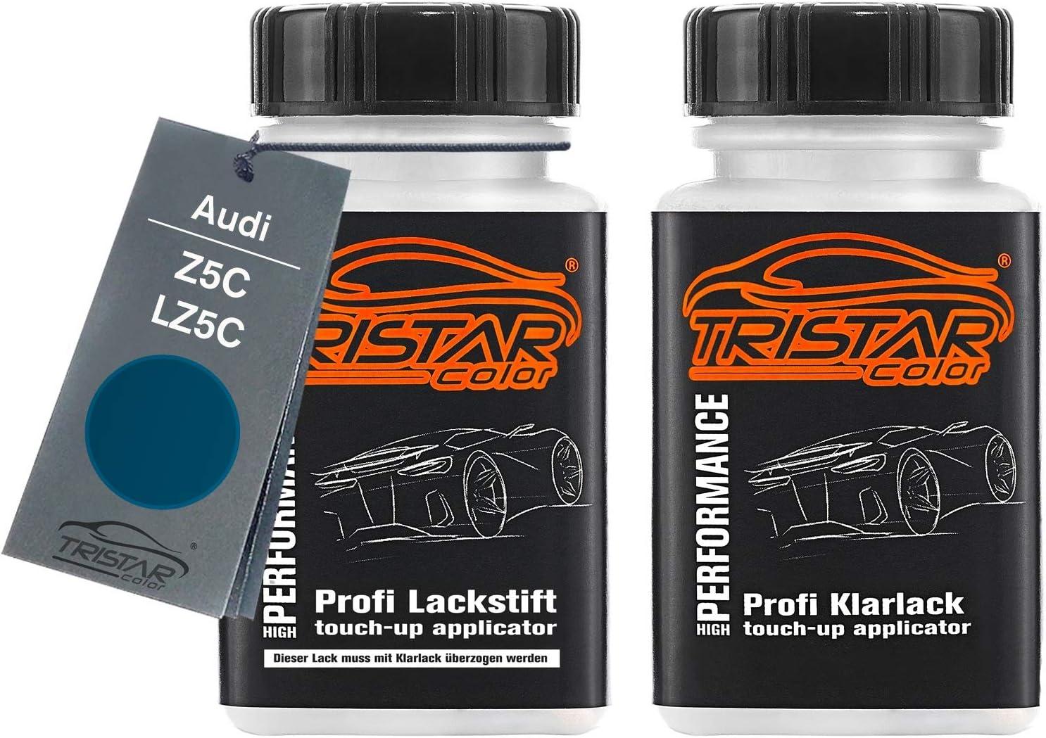 Tristarcolor Autolack Lackstift Set Für Audi Z5c Lz5c Mauritius Blau Perl Metallic Basislack Klarlack Je 50ml Auto