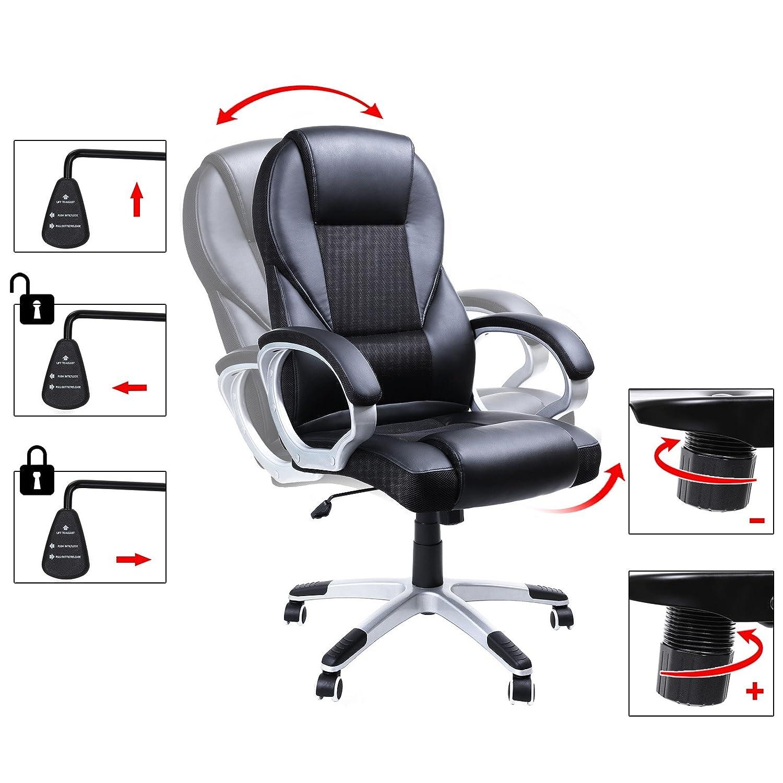 Songmics chaise de bureau fauteuil de bureau chaise pour ordinateur hauteur r glable pu obg22b - Hauteur standard bureau ordinateur ...