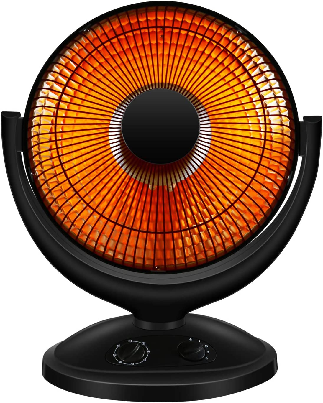 RMYHOME Space Heater, Electric Portable Heater for Home and Office, Dish Heater with Adjustable Tilt, 2 Heat Settings, Tip-Over and Overheating Protection