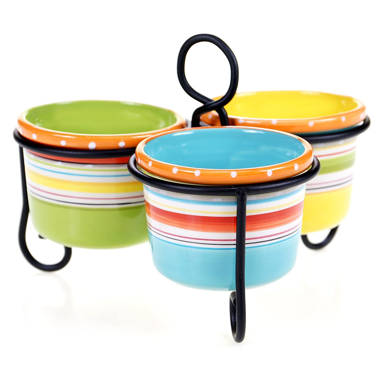 Multicolor Certified International 25642 Mariachi 3 Bowl Server with Metal Stand