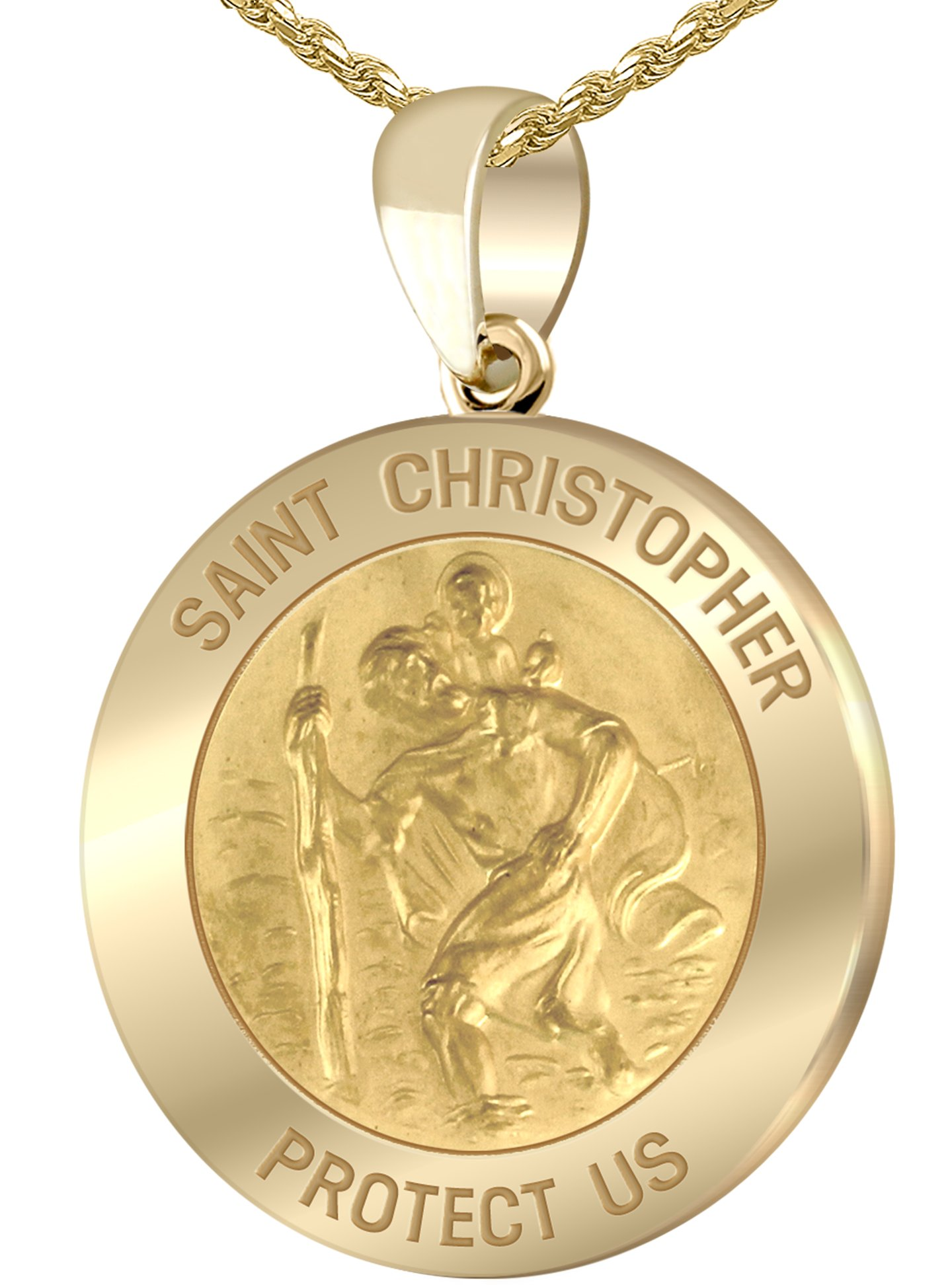 Men's 14k Yellow Gold St Christopher Round Polished 1'' Hollow Pendant 1.5mm Rope Necklace, 16''