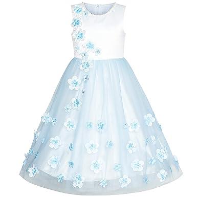 b650cc8044105 Sunny Fashion Robe Fille Fleur Bleu Pétales Mariage Demoiselle d honneur  Anniversaire Partie 6 Ans
