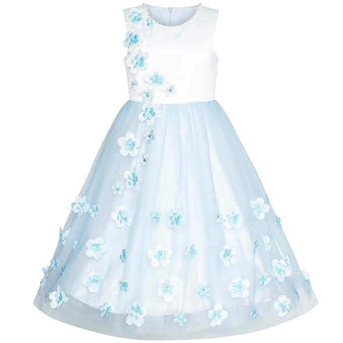 Sunny Fashion Vestido para niña Flor Azul Pétalos Boda Dama de Honor Fiesta de cumpleaños 6-12 años: Amazon.es: Ropa y accesorios