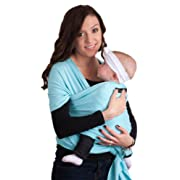 Baby Wrap - Best Baby Carrier by CuddleBug - Available in 9 Colors | 4-in1 Ring Sling: Baby Sling Wrap, Post Postpartum Belt, Nursing Cover, Baby Carrier Wrap | Great Infant Carrier Gift (Light Blue)