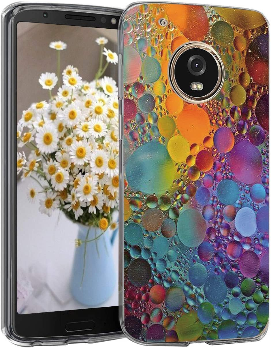 5-Blair Slim fit Case for Motorola Moto G5 Plus Case Flower Clear Soft TPU Transparent Silicone Shockproof Protective Cover Moto G5+