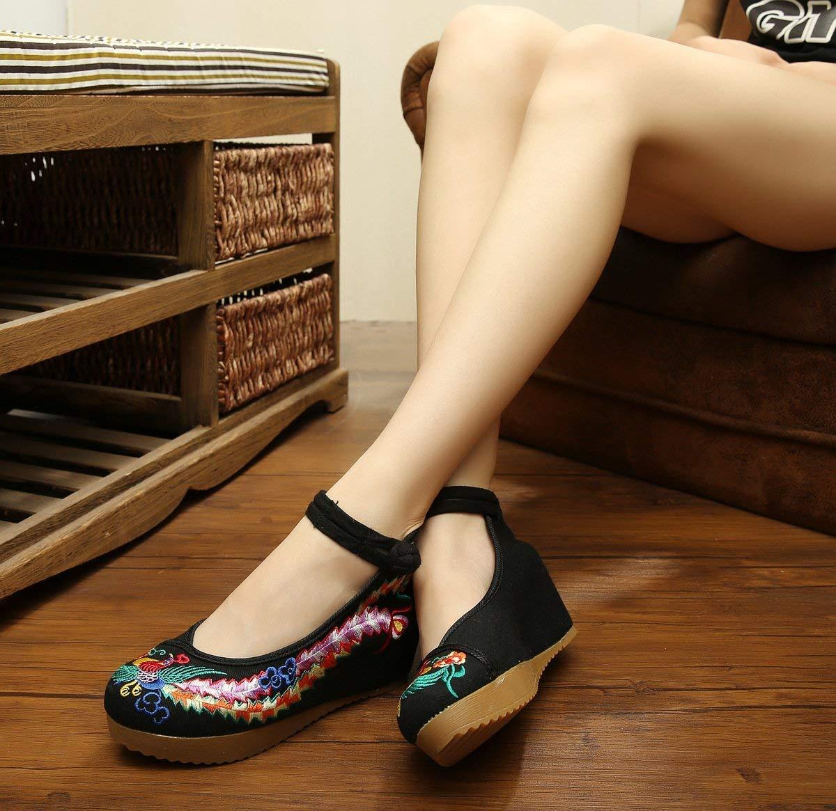 Fuxitoggo Bestickte Schuhe Leinen Sehnensohle Ethno-Stil Frauenschuhe Mode schwarz bequem lässig schwarz Mode 39 (Farbe   - Größe   -) 205628