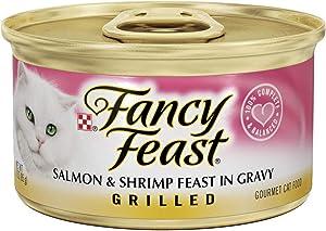 Fancy Feast Grilled Salmon & Shrimp Feast in Gravy Canned Cat Food, 3-oz, case of 24