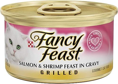 Fancy Feast Grilled Salmon Shrimp Feast in Gravy Canned Cat Food, 3-oz, case of 24