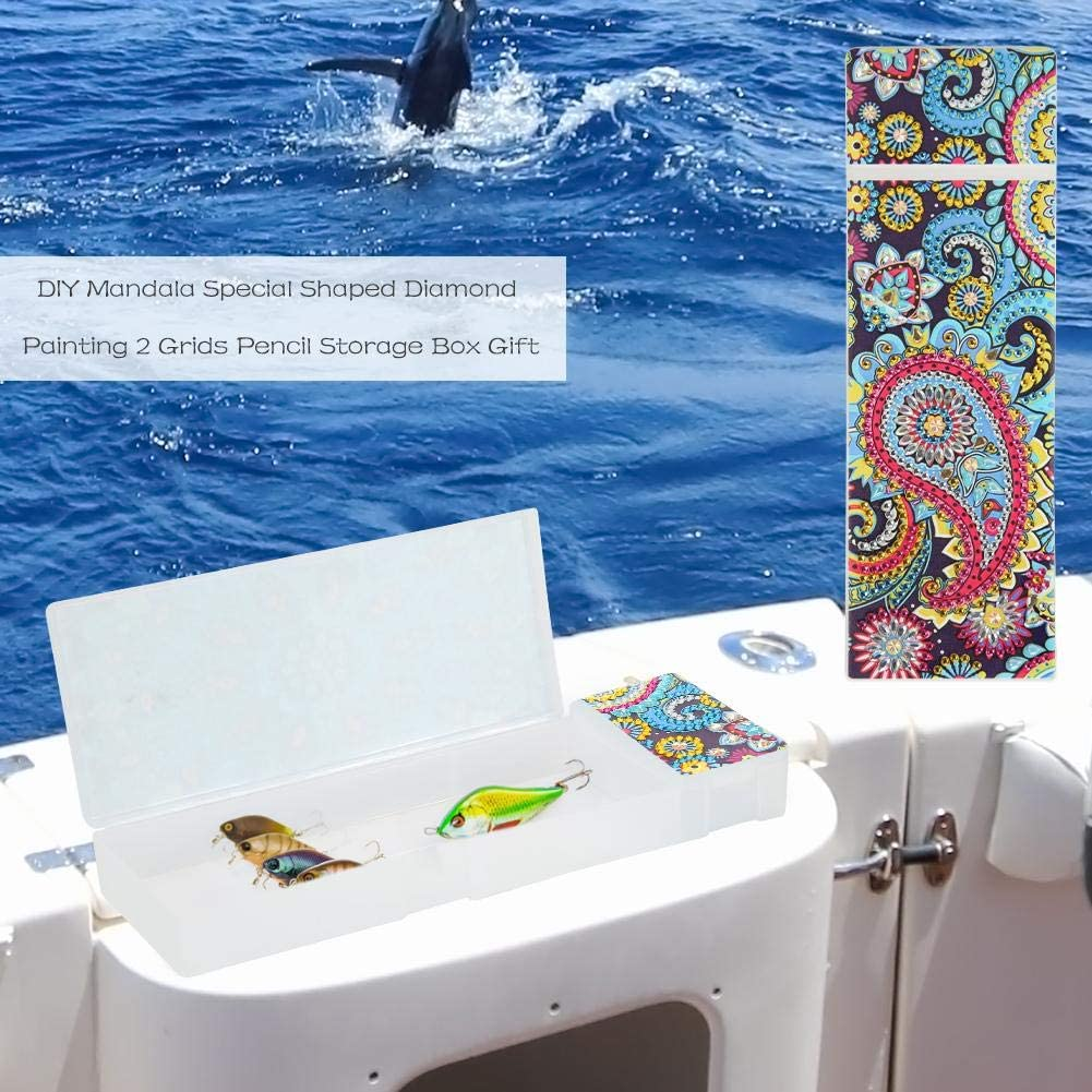Plastic Organizer Box DIY Butterfly Special Shaped Diamond Painting 2 Grids Pencil Case Storage Container Jewelry Box Stationery Storage Case Mosaic Making Art Craft Gifts for Kids and Adults