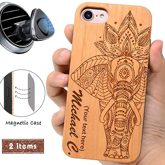 new concept 96237 004d8 Wood Phone case Compatible with iPhone 8 7 6 Plus (ONLY) and Magnetic  Mount-iProductsUS Customized Cases Engraved Elephant and Name, Built-in  Metal ...