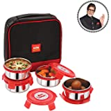 Cello Max Fresh Supremo Stainless Steel Lunch Box Set, 300ml, Set of 4, Red