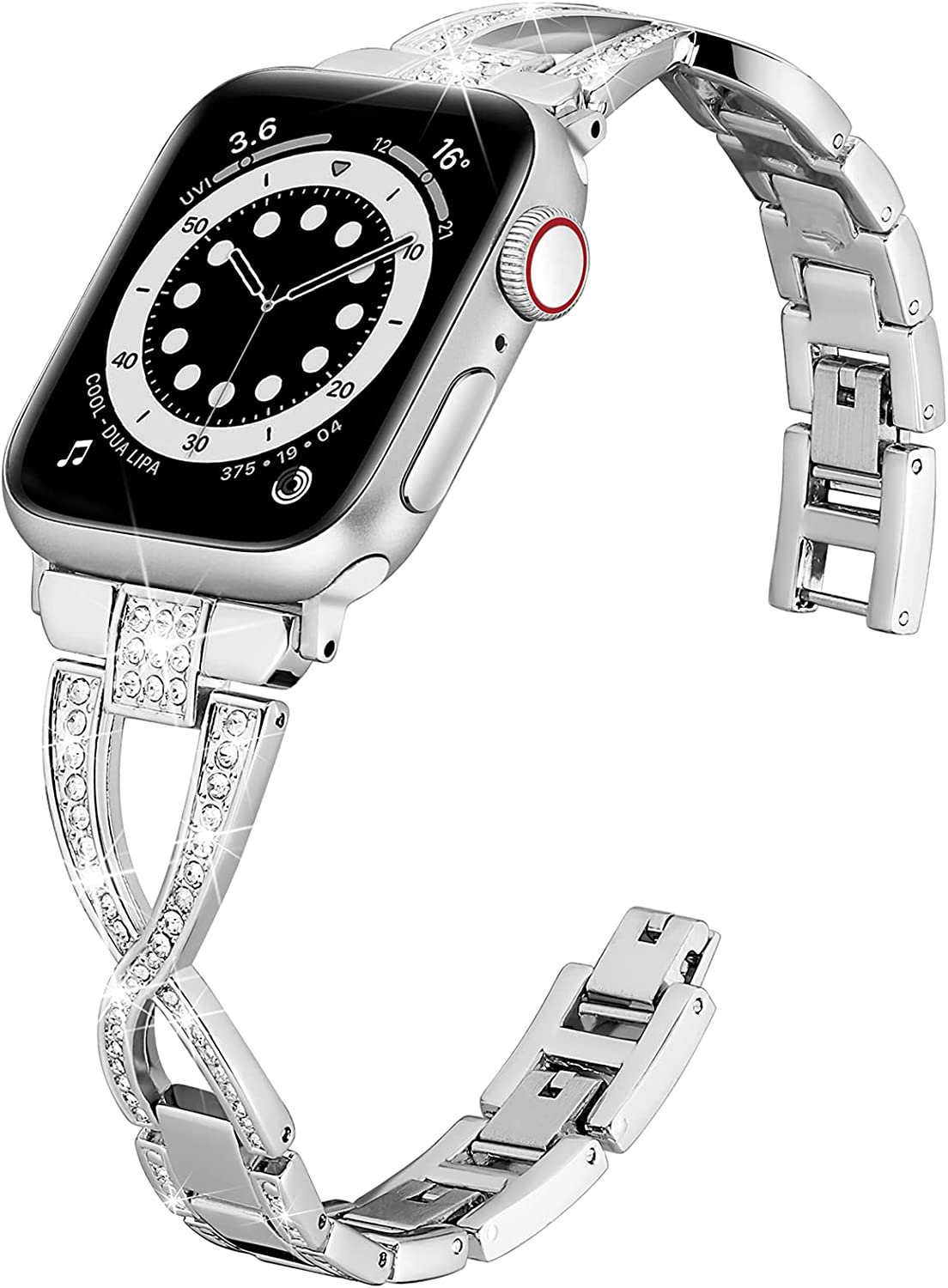 Wipalor Compatible with Apple Watch Band 42mm 44mm, Lightweight for Women, Easy Adjustable Bracelet, Bling Shiny Diamond Both Sides, Jewelry Metal Strap for iWatch Series 6 5 4 3 2 1 SE(Silver)
