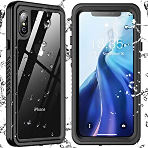 SPIDERCASE Designed for iPhone Xs Max Waterproof Case, Built-in Screen Protector Full-Body Clear Call Quality Heavy Duty Shockproof Cover Case for iPhone Xs Max 6.5'', Black/Clear