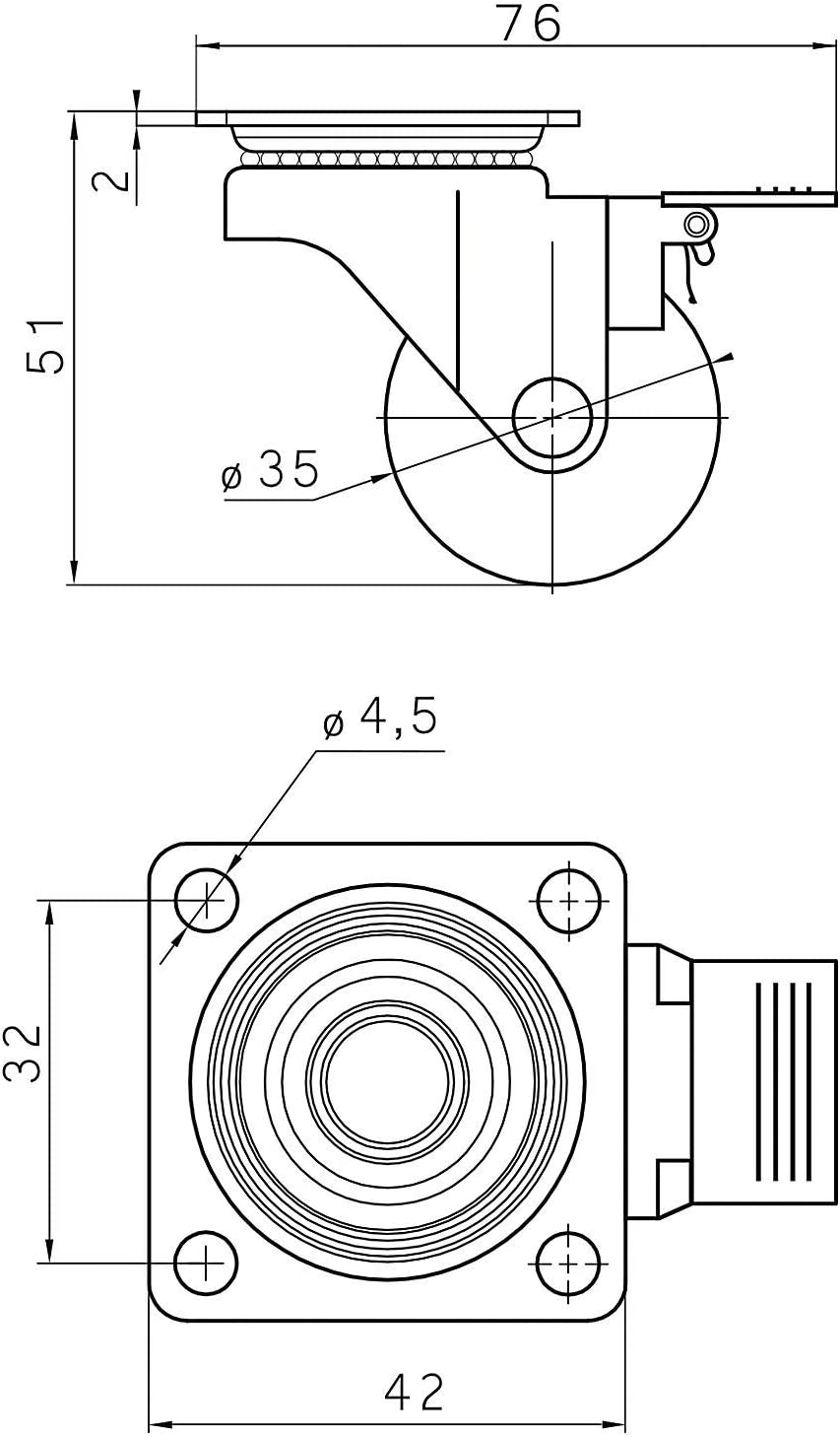 SOTECH M/öbelrolle SWIFT /Ø 35 mm schwarz Lenkrolle Bockrolle mit Feststeller