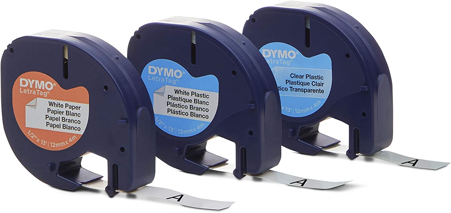 DYMO LetraTag Labeling Tape for LetraTag Label Makers, Black Print on White Paper, White Plastic and Clear Plastic Tapes, 1/3'' W x 13' L, 3 Rolls (12331)