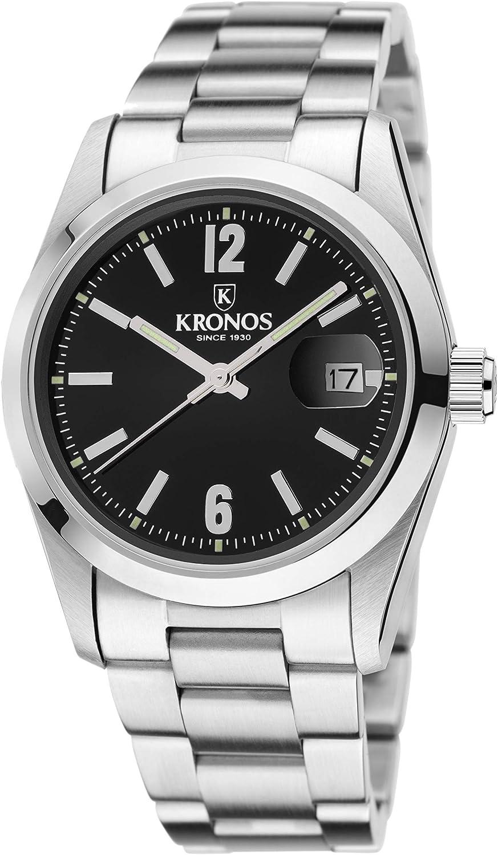 Kronos - Elegance Black 968.8N.52 - Reloj Unisex de Cuarzo, Brazalete de Acero, Color Esfera: Negra