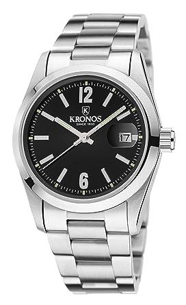 Kronos - Elegance Black 968.8N.52 - Reloj Unisex de Cuarzo, Brazalete de Acero, Color Esfera: Negra: Amazon.es: Relojes