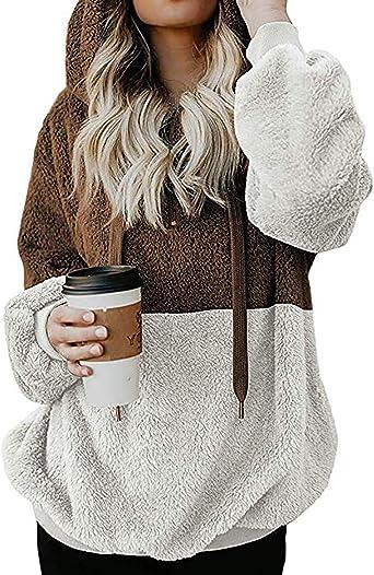 Dokotoo Sweat-shirt /à capuche en polaire avec poches pour femme Taille S-XXL