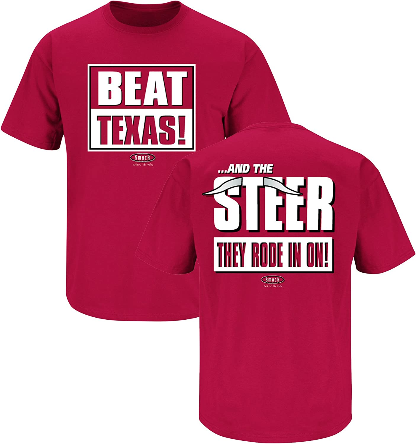 Beat Texas and The Steer They Rode in on Cardinal T Shirt Sm-5X Smack Apparel Oklahoma Football Fans