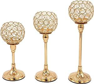Vincidern 3 Pcs Gold Crystal Candle Holders Candelabra, Tea Light Candlestick Holder Centerpiece for Dining Table Decor Wedding Home Fireplace Candelabra Housewarming Gifts