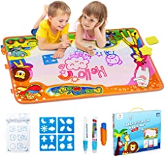 Betheaces Water Doodle Mat Kids Gift Aqua Magic Mess Free Coloring Toddlers Toys Painting Board