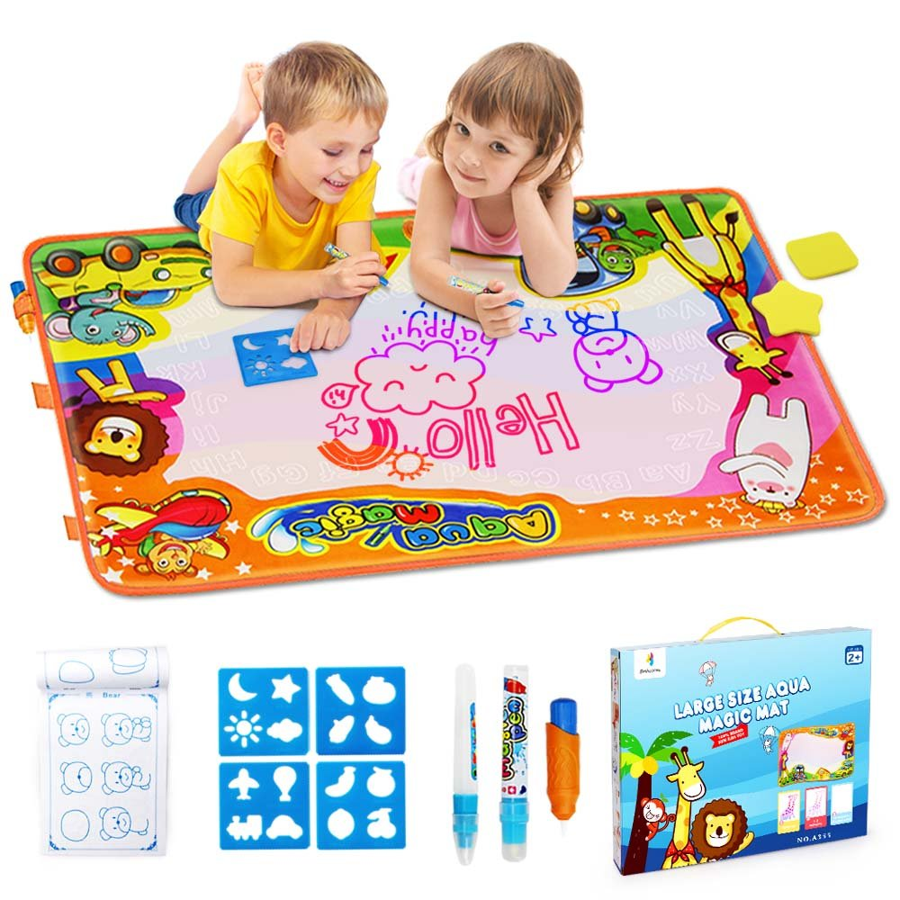 Betheaces Aqua Magic Mat, Kids Toys Large Water Drawing Mat Toddlers Painting Board Writing Mats in 6 Colors with 2 Magic Pens and 1 Brush for Boys Girls Educational Gift Size 34.5'' X 22.5