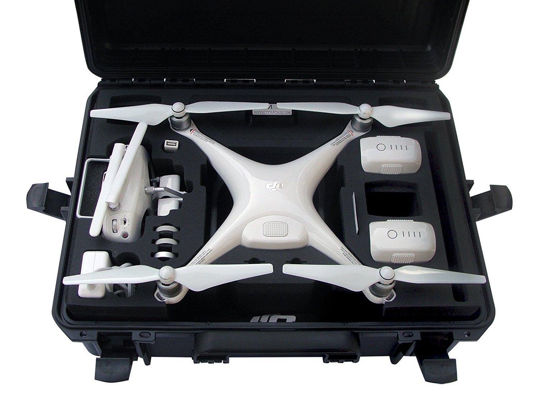 Profi Transportkoffer, Koffer für DJI Phantom 4 Pro/Pro+/Adv/Adv+/Obsidian, mit speziellem Gimbal-Schutz, 6 Akkus + viel Zubehör, wasserdichter Outdoor Case IP67, Hardcase, made in Germany