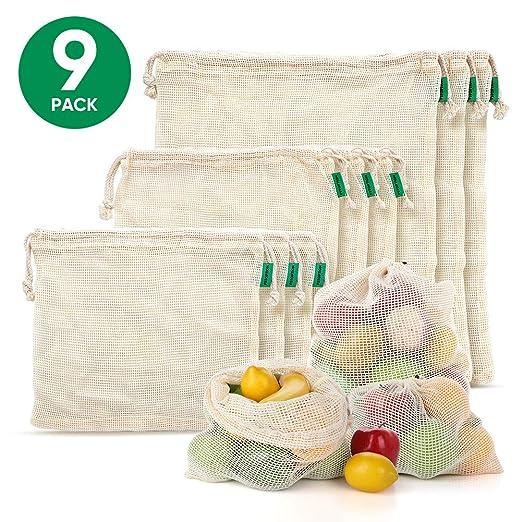 Fstoption Bolsas Compra Reutilizables, 9pcs Ecológicas Bolsa de Malla para Almacenamiento Fruta Verduras Juguetes Lavable y Transpirable