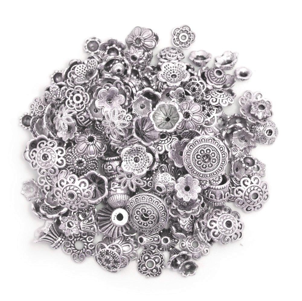 100 Gram,Tibetan Silver 160-210pcs Bali Style Jewelry Making Metal Bead Caps Deluxe New Mix
