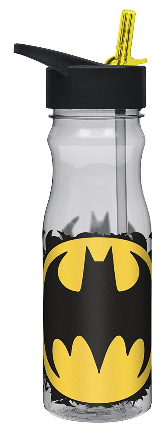 Zak! Designs Tritan Water Bottle with Flip-Up Spout and Straw featuring Batman Graphics, Break-resistant and BPA-free Plastic, 25 oz.