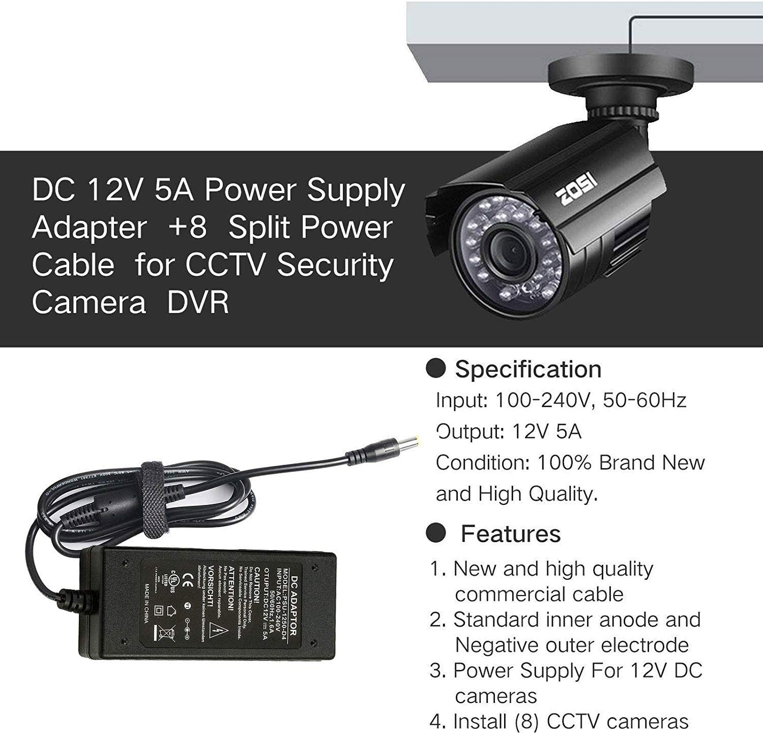 TJPOTO AC100-240V DC 12V 1A Supply Adapter CCTV Security System Camera Power Supply Switch Adapter US Plug