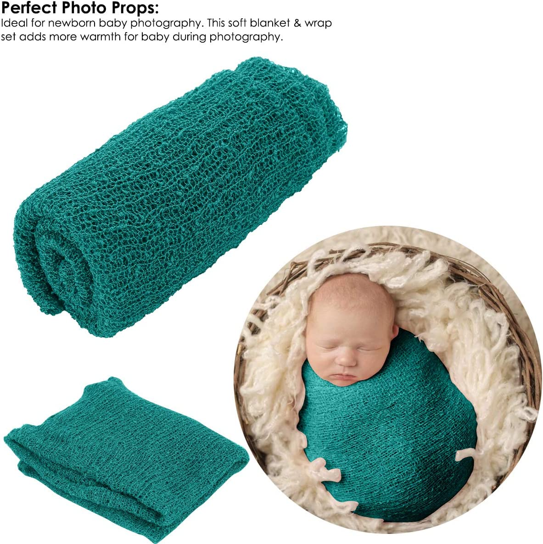 Josopa Baby Photography Props Fluffy Blanket Dark Green Ripple Wrap Set Newborn Photography Wrap Mat