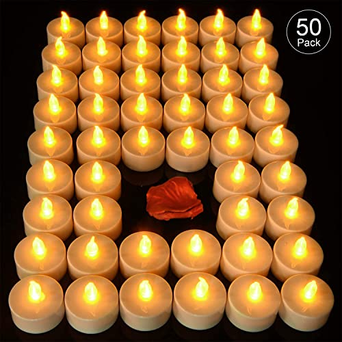 Pandaing 50 Pack Battery Operated Flameless Tea Lights LED Candles for Party, Weddings, Birthdays, Mother s Day, Halloween, Thanksgiving, Christmas Decorations, Batteries Included