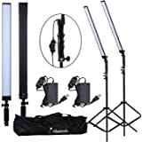 Abeststudio Photography Studio Softbox Continuous Lighting Kit 2X 16in 24W LED 90PCS 5500K Dimmable (1% to 100%) Adjustable Rectangular Handheld Light Studio Light + 200cm Light Stand+ Carry Bag