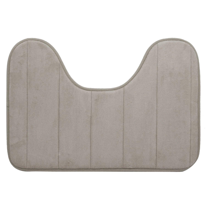 40 x 60cm U Shape Wide Style High Density Non-slip Bathroom Toilet Pedestal Lint Rug Carpet Floor Mat Grey Gosear