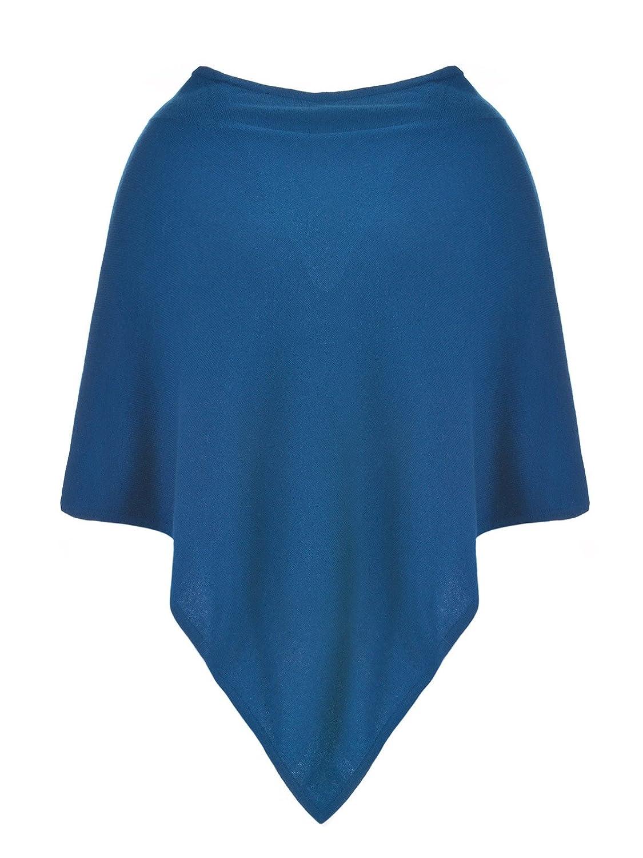 MILANO ITALY Damen Poncho Cardigan 100% Kaschmir, blau