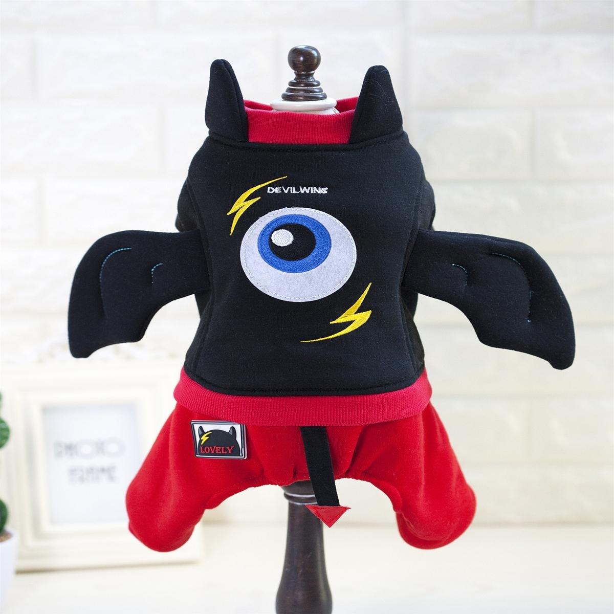 SASA Productos para Mascotas Ropa para Mascotas de Halloween Pequeño Diablo Polar Cuatro Patas Ropa de Perro Ropa de Perro de Peluche Disfraces de transfiguración, 001