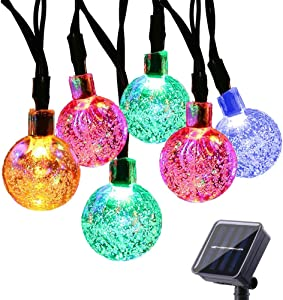 Solar String Lights, DYTesa 21.3Ft 30 LED Solar Powered Lights Crystal Ball, 8 Modes Waterproof Fairy Lights Clear Globe for Garden, Patio, Yard, Balcony and Christmas Decoration, Colorful
