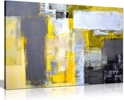 Office Art Grey And Yellow Abstract Art Painting Canvas Wall Art Picture Print 36x24 Amazon Co Uk Kitchen Home