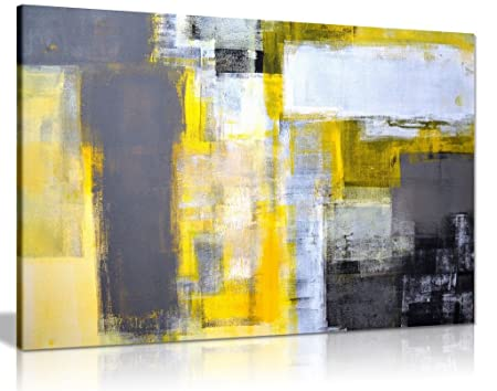 Office Art Grey And Yellow Abstract Art Painting Canvas Wall Art ...