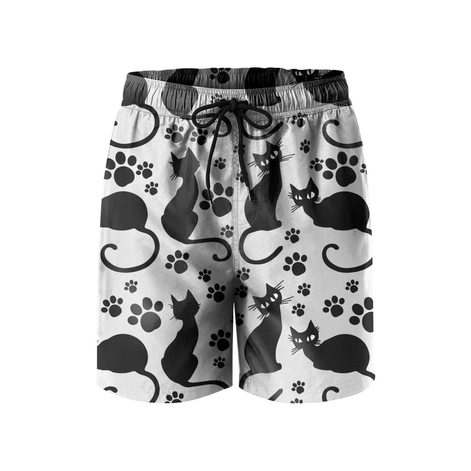 A lot of Black Cats Stars Mens Swimming Trunks Street Swimwear high Waisted Board Shorts