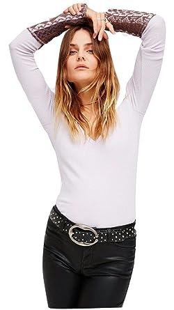 638464320ebc5 Free People Women s Art School Cuff Thermal Long Sleeve Top Lavender ...