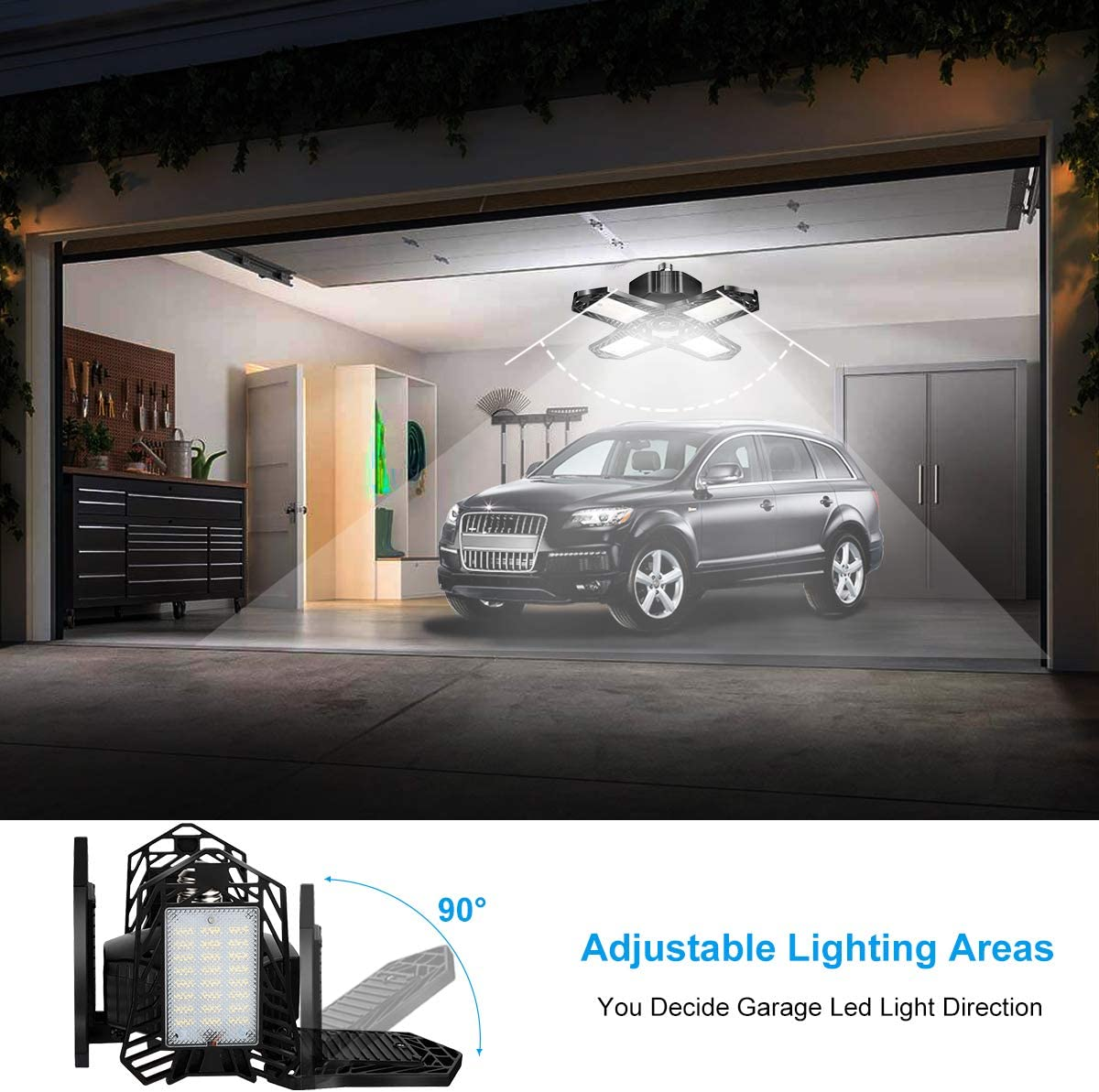 Basement Barn,Warehouse Garage Light,WOHOME 150W 15000LM LED Garage Light,E26//E27 Garage Ceiling Lighting with 4 Adjustable Panels,6500K Daylight LED for Shop