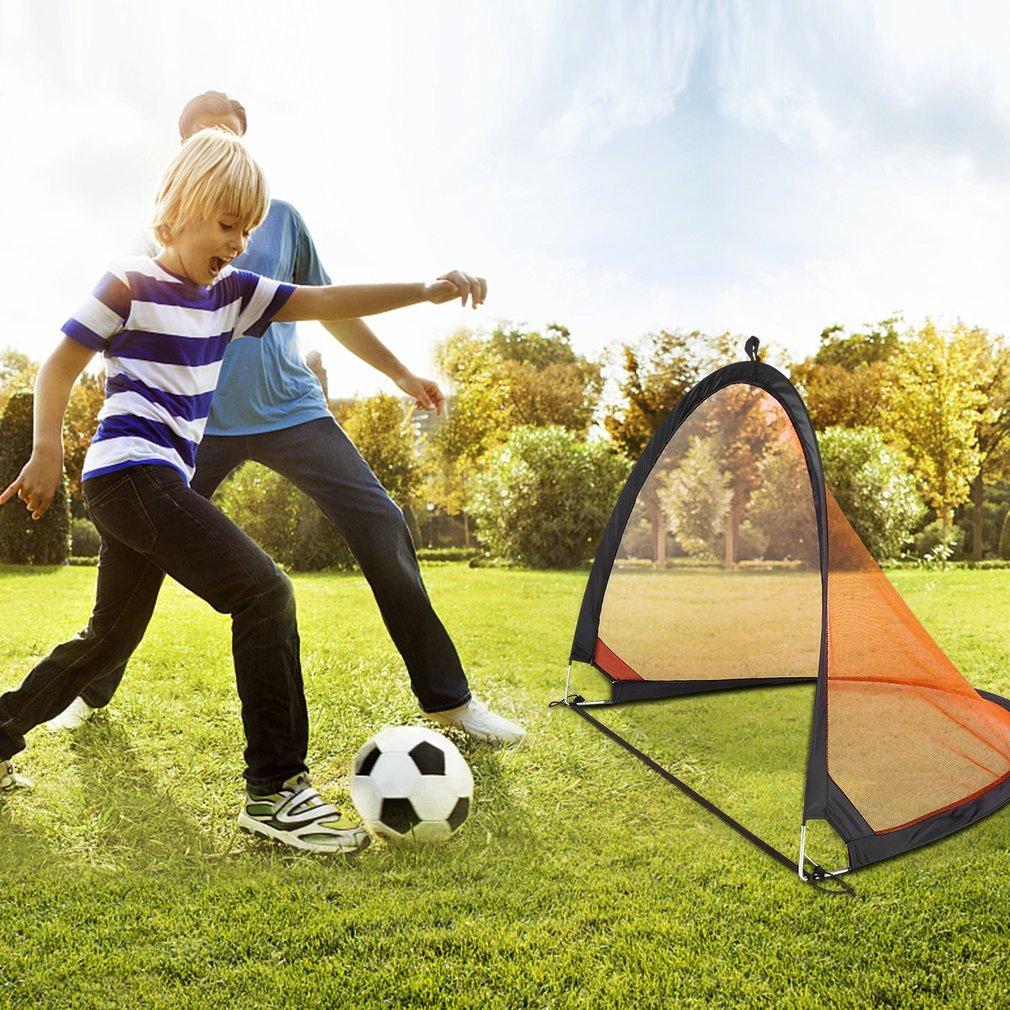 Homgrace Portería de Fútbol para Niños Práctica Plegable Deportes Interiores Exteriores (79 x 60 x 62cm, Naranja/Negro) 360303