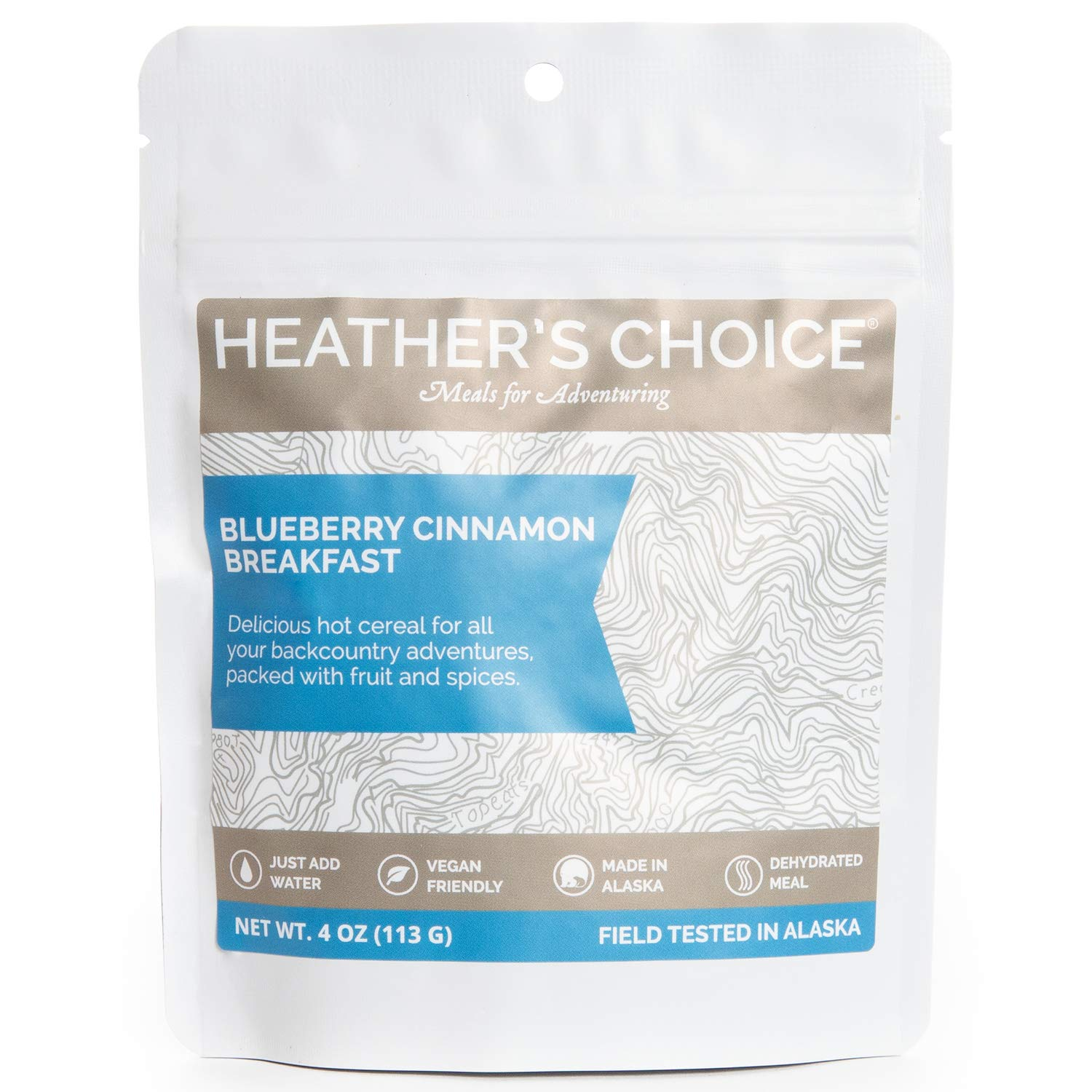Heather's Choice, Blueberry Cinnamon Gluten-Free Buckwheat Breakfast, Wholesome, Allergen-Friendly Dehydrated Food for Backpacking, Camping, Hunting and Travel (Pack of 5) by Heather's Choice