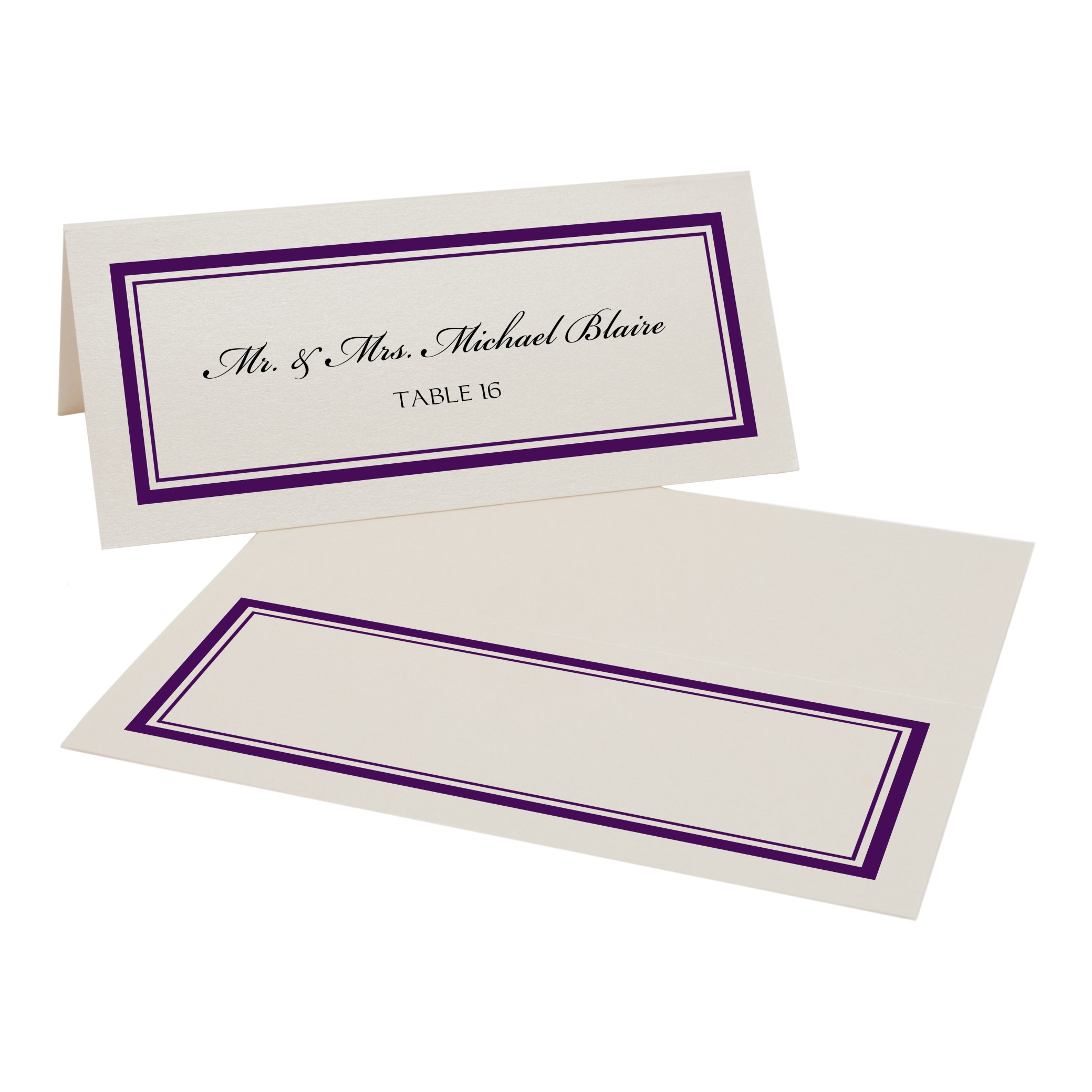 Double Line Border Place Cards, Champagne, Eggplant, Set of 375 by Documents and Designs
